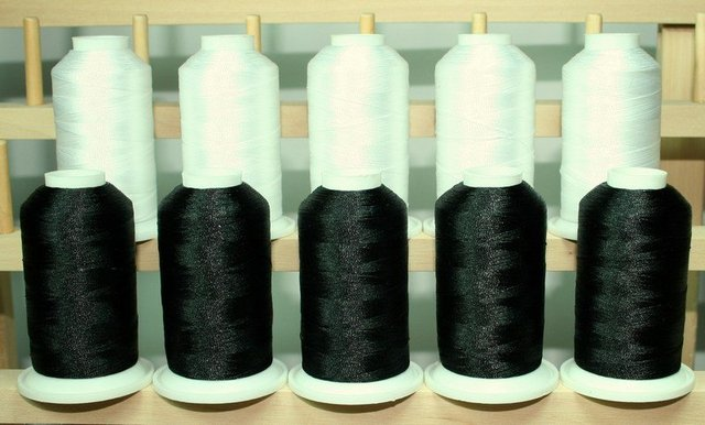 free shipping 100% white and black rayon embroidery thread 120D 100g 4000Y