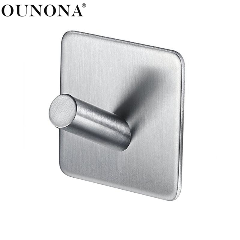 OUNONA Stainless Steel Hooks Hanger Self Adhesive Robe Towel Hook For Bathroom Living Room Kitchen Wall Mounted