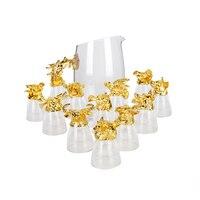 GFHGSD 13 шт./компл. высококлассные золото Зодиак вино Стекло творческий животное с кристаллами Стекло духов чашки подарочный набор вина SAX1030