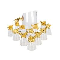 GFHGSD 13 шт./компл. высококлассные золотые зодиакальные бокалы для вина креативное животное с кристаллами стеклянная чашка для духов подарочн