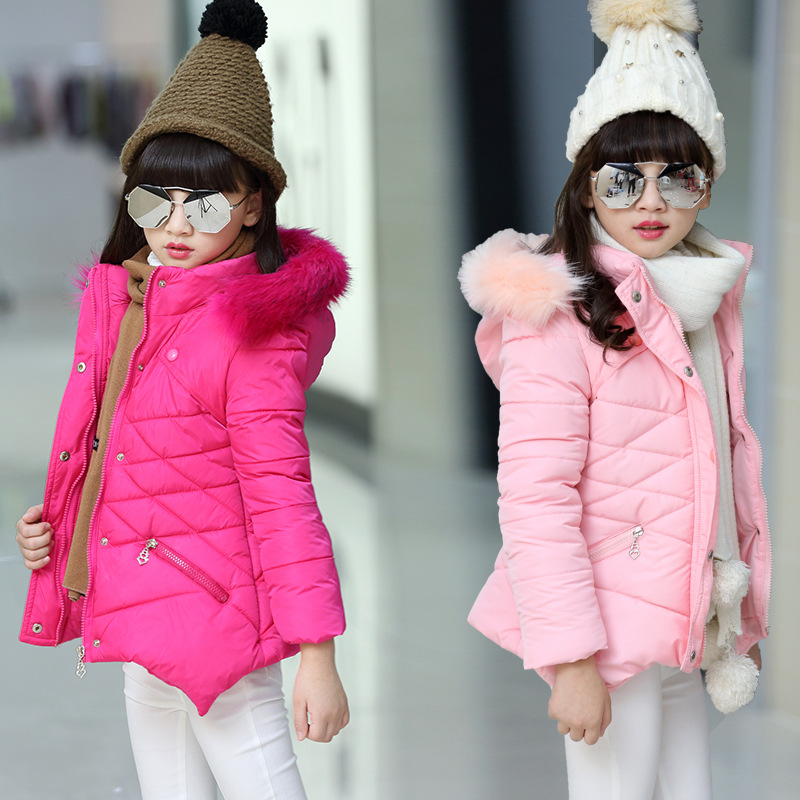 Winter Jacket for Girls New 2018 Warm Children Outerwear Cotton Padded Parka Short Jacket Hooded Fur Collar Overcoat Kids Coats long parka women winter jacket plus size 2017 new down cotton padded coat fur collar hooded solid thicken warm overcoat qw701