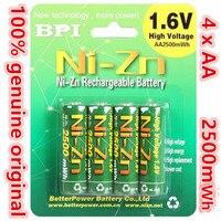 4 pçs/lote original bpi aa 2500mwh 1.6 v 1.5 v ni-zn bateria baixa auto-descarga baterias recarregáveis alta persistência