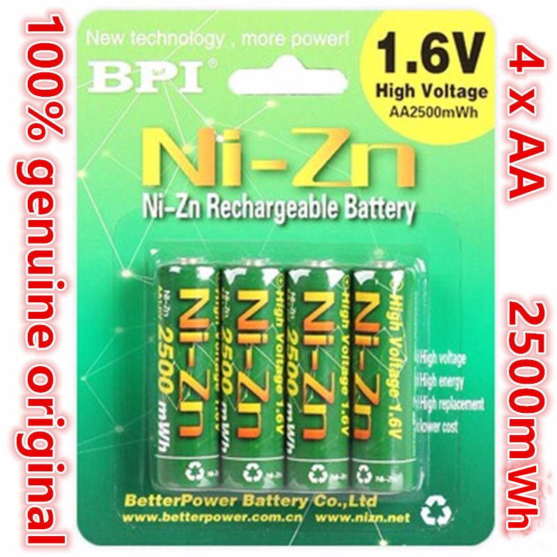 4pcs/lot Original BPI AA 2500mWh 1.6V 1.5V NI-Zn Battery Low Self-discharge Batteries High Persistence Rechargeable Batteries