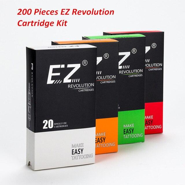 200 adet karışık Lot EZ devrimi kartuş dövme İğneler RL RS M1 CM ile uyumlu kartuş sistemi dövme makineleri sapları