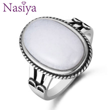 Nasiya Natural White Chalcedony Rings 925 Silver Jewelry Var