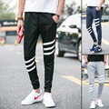 2016 alta moda dos homens casuais magro calças de pista preto/cinza/marinho sólidos calças de treino hip hop moletom calças calças