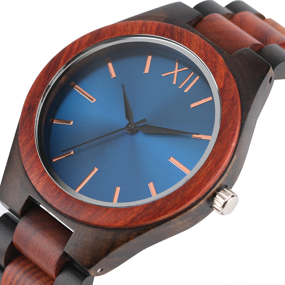 Wooden Watches Brown Sapphire Woman Gifts Handmade Quartz Face Blue/dark Full