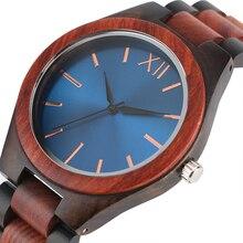 2017 moda de madeira relógios banda de madeira completa safira azul/marrom escuro rosto quartzo relógio de pulso artesanal homem mulher presentes