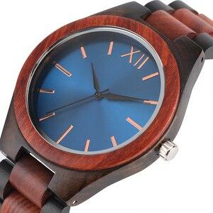 Image 1 - 2017 mode Holz Uhren Full Holz Band Sapphire Blau/Dunkelbraun Gesicht Quarzuhr Handgemachte Armbanduhren Mann Frau Geschenke