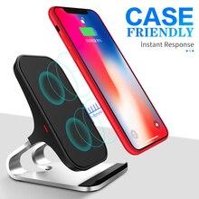 10 w qi carregador sem fio para iphone xs max xr x para samsung s10 s9 infravermelho inteligente rápido wirless carregamento suporte do telefone carro