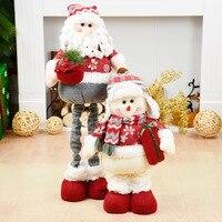 Santa Claus Doll Christmas Decoration Snowman Dolls Retractable Standing Toy Xmas Birthday Gift for Kids Navidad Ornaments Natal