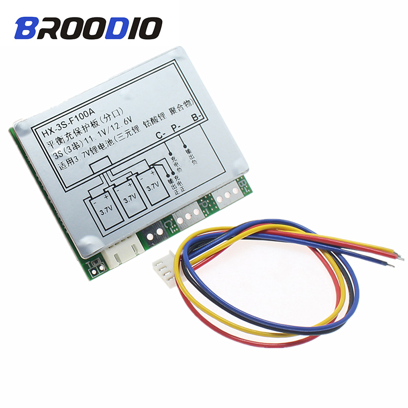 BMS 3S 12.6V 18650 Lithium Battery Protection Circuit 3S BMS Polymer 12V 100A Separate With Balance Balancer Equalizer Board