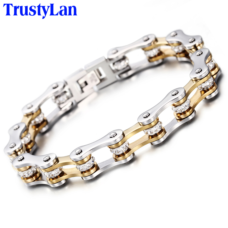 1802e93c13bf Color oro pulsera de hombre regalo para novio cadena de la motocicleta  pulseras para hombre 2018 de moda de joyas de acero inoxidable TrustyLan en  Cadena y ...