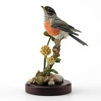 British designer realistic sculpture Robin and alfalfa Branch bird peanut Day Gift Display UK crafts Old Statue