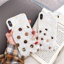 цена Luxury Gold Plating Love Heart Case for Iphone Xs Max Xr Glitter Tpu Polka Dots Case for Iphone 6s 7 8plus X Protective Cover в интернет-магазинах