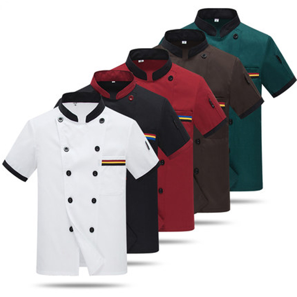 Summer Short-sleeve Breathable Double-breasted Chef Jacket Men Hotel Kitchen Cook Suit Restaurant Work Clothes Tooling Uniform 9