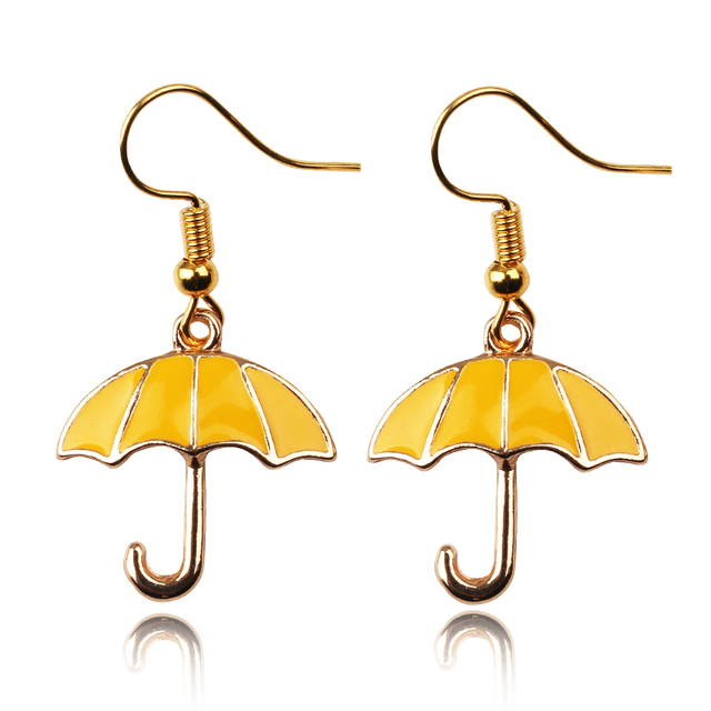 Himym How I Met Your Mother Yellow Umbrella Blue French Horn Earrings
