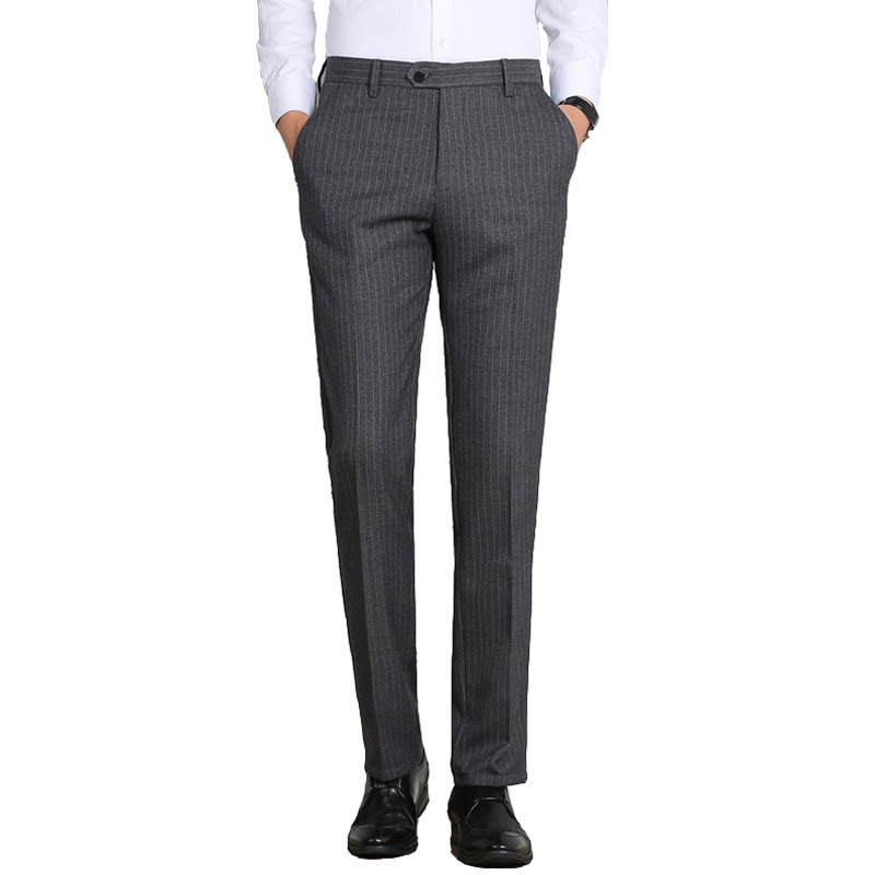 Winter Stripe Office Dress Man Clasic Business Mens Formal Trousers Warm Men Casual Suit Slim Pants Pantalon De Costume Homme