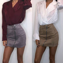 Lolita Style Women Front Zipper Closure Suede Skirts Ladies High Waist Winter Mini Skirts Elegant Jupe Female Faldas(China)