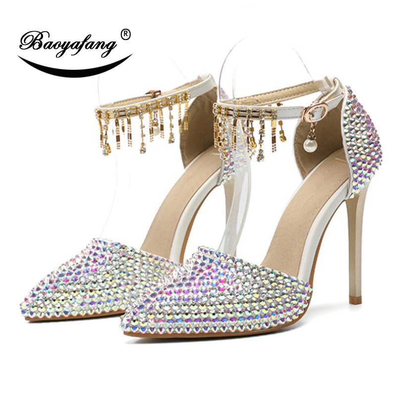 29b4c49e8e3b BaoYaFang 2019 NEW ARRIVE AB Crystal Wedding shoes Woman 11cm High heels  pointed toe Bridal Party dress shoe plus size 46-in Women s Pumps from Shoes  on ...