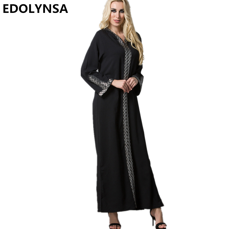 Plus Size 2017 Brand Fashion Muslim Dress Abaya Dress Robe Long Dresses Casual Kaftan Robe Knitting Print Vintage Dresses #D294