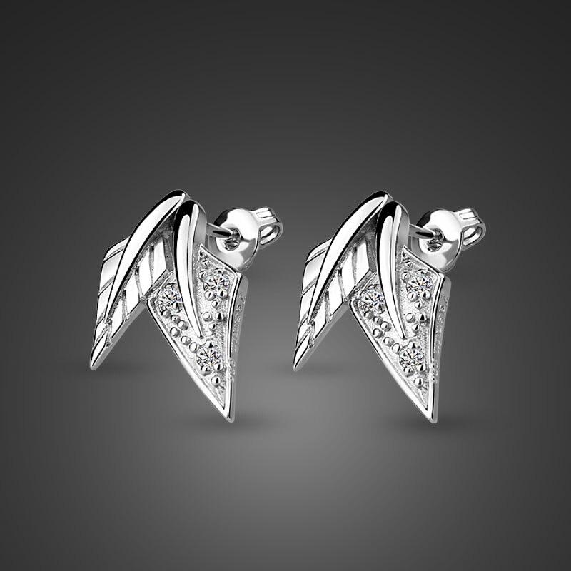 New fashion leaves lady earrings. Cute Girl 100% Sterling Silver Jewelery Gift. Anti-allergic solid 925 silver woman earrings