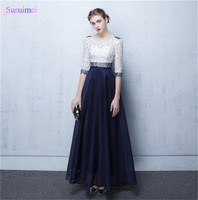 Real Image Navy Blue Lace Prom Gowns 2007 Half Sleeve Besds Long Abiti Da Cerimonia Da