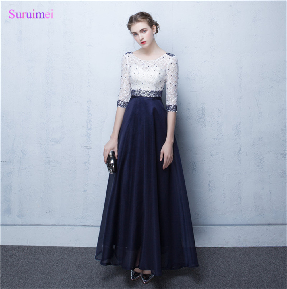 Online buy wholesale navy blue bridesmaid dresses lace from china real image navy blue lace womengowns 2007 half sleeve besds long abiti da cerimonia da sera ombrellifo Gallery