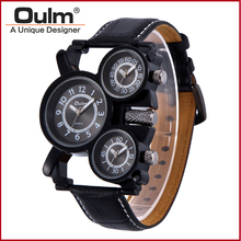 2016 oulm wristwatch men leather, fashion boys watches, brown leather watch for men