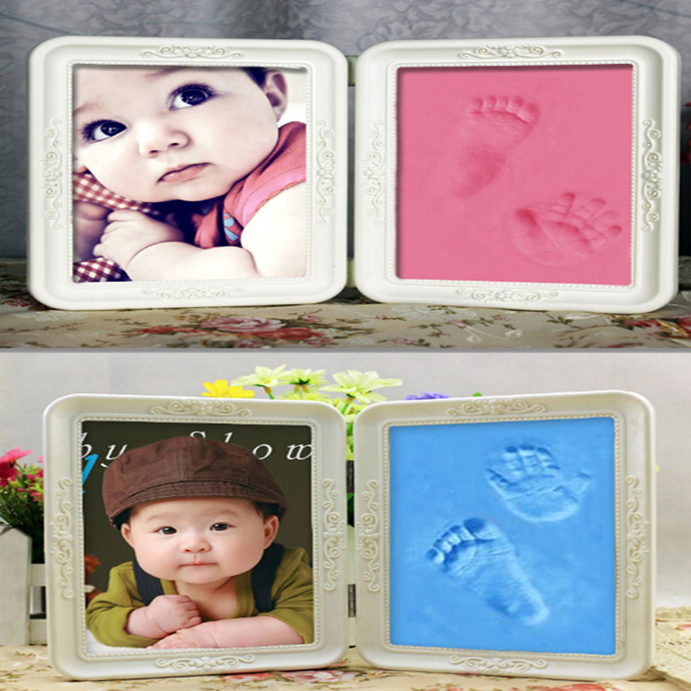 1 STÜCKE Schöne Weichen Ton Nette Baby Footprint DIY Fotorahmen ...