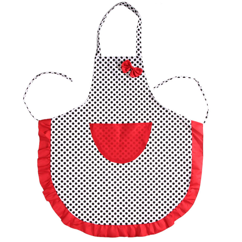 beautiful apron cute black dot bowknot dot women kitchen restaurant bib cooking aprons with pocket - Cooking Aprons