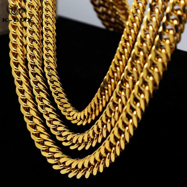 "Nelly Style Mens Stainless Steel Gold Cuban Link  Chain Necklace 9-14mm  Wide  24"" 30"" 36"" Heavy Hip Hop Link Chain"