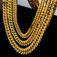 Nelly Style Mens Stainless Steel Gold Cuban Link Chain Necklace 9-14mm Wide 24