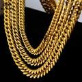 """Nelly estilo Mens de acero inoxidable Gold cadena con eslabón cubano collar 9 - 14 mm de ancho 24 """" 30 """" 36 """" Hip Hop pesado del acoplamiento de cadena"""
