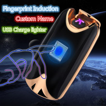 Фотография Custom Name USB Lighter Rechargeable Electronic Lighter Cigarette Fingerprint Induction Plasma Light Double Arc Palse Men Gift