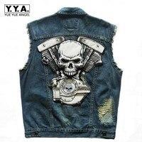 Top Brand Punk Cowboy Fashion Mens Skull Badge Hole Motorcycle Vests Waistcoats Cotton Male Sleeveless Jean