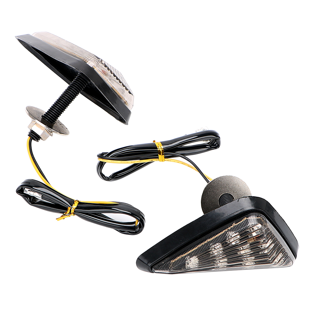 1 Pair Turn Signal 9 LED Turn Light Motorcycle Flasher Smoked Color Triangle Piranha Light Motorbike Indicator