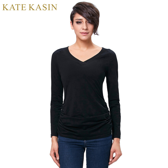 467bfbad249a4 Kate Kasin 2017 Spring Long Sleeve T Shirt Women Solid Color Black Tee  Shirts Femme Tunic Top V Neck Slim Fit Tops