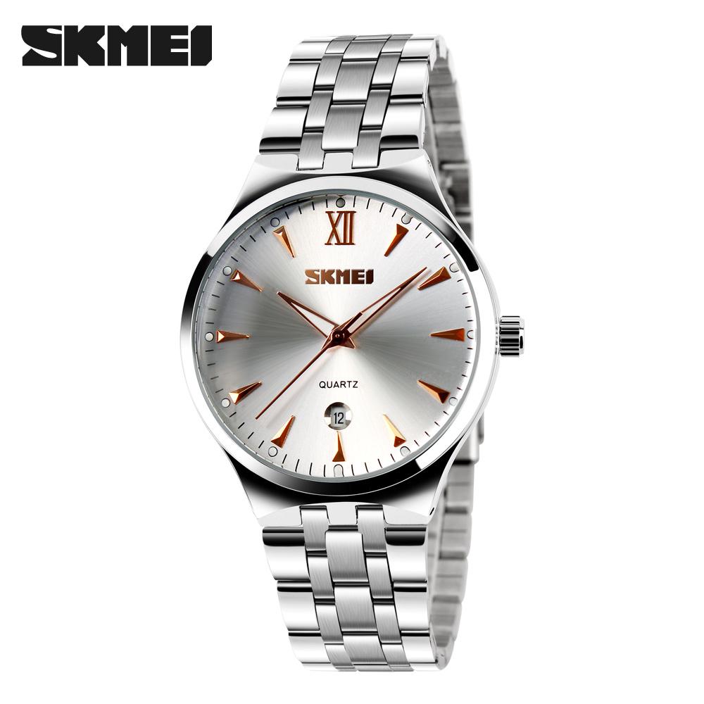 Prix pour SKMEI Mode Auto Affichage de la Date Montre Hommes Inoxydable Bracelet En Acier Plein Relogio Mâle Horloge Hommes Montre-Bracelet À Quartz Sport Montres 9071