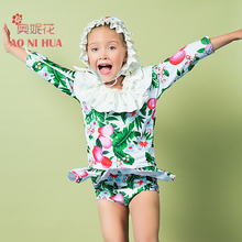 AONIHUA 2-12 years 3pcs Sweet Ruffles Two-piece Swimsuit Girls 2017 Designer Brand Print Children baby Kids Long sleeve swimwear