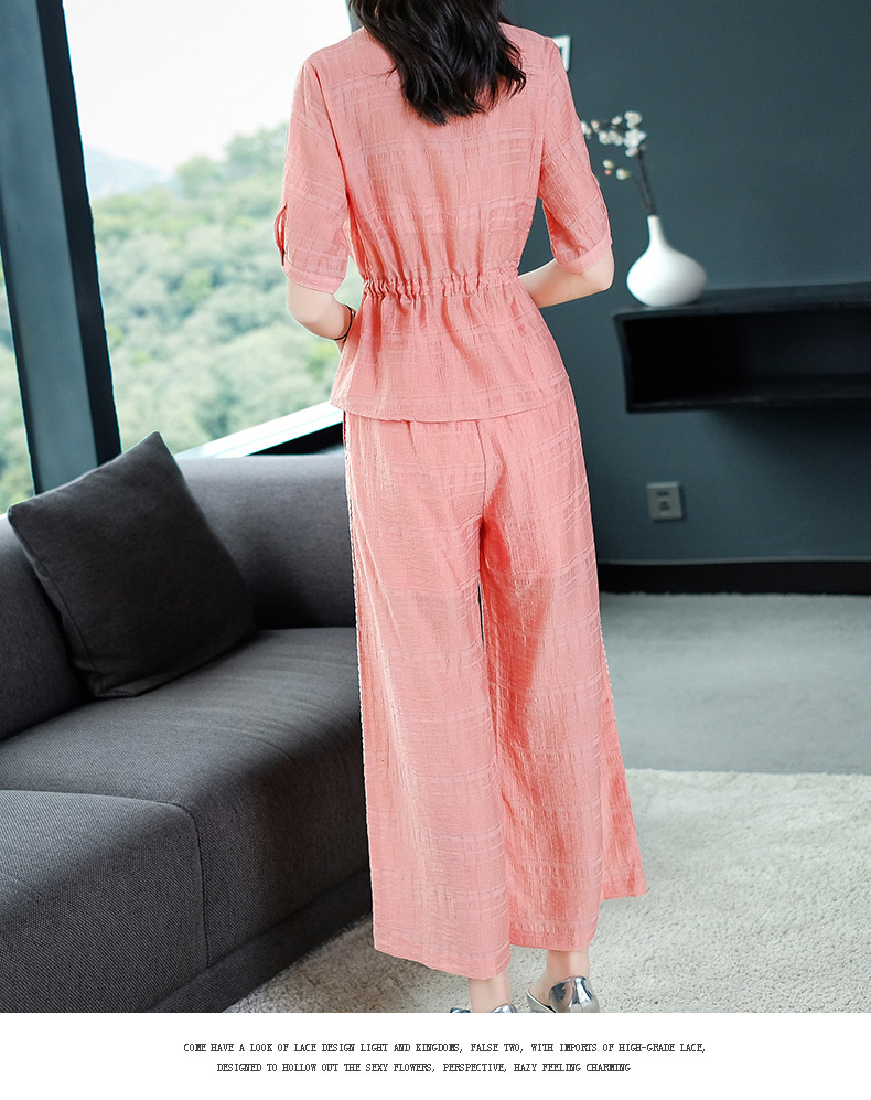 2019 Summer Two Piece Sets Outfits Women Blue Pink Short Sleeve Tunics Tops And Wide Leg Pants Suits Office Elegant 2 Piece Sets 51