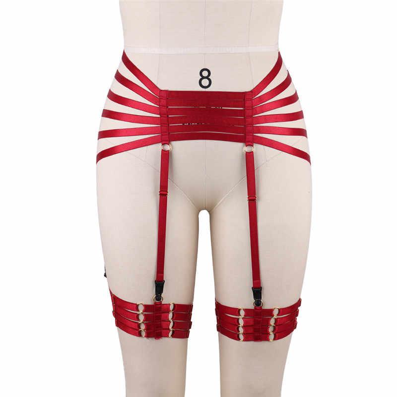 d90944c0e8 ... Red Garters Belt Body Harness BDSM Bondage Stockings Suspenders belt  Elastic adjust Strap Lingerie Goth Fetish ...