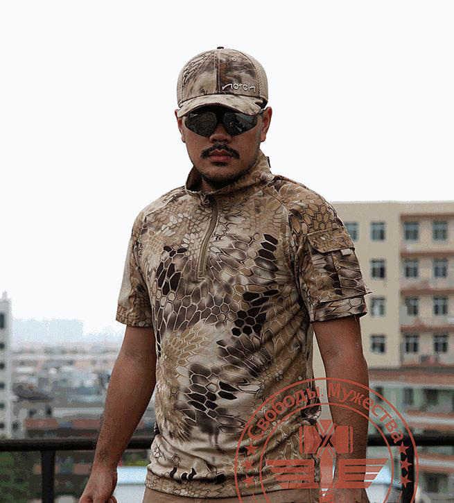 Kualitas T Kemeja Pria Musim Panas Outdoors Berburu Kamuflase Army Mens T-shirt Bernapas Rattlesnake Taktis Kering Olahraga TSHIRT