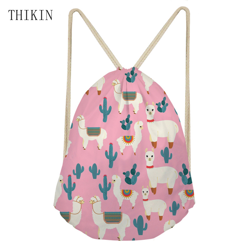 THIKIN Swimming Bag For Girls Women Cartoon Llama Aztec Alpaca Prints  Backpack Sport Bags Draw-string Beach Back Pack Kids