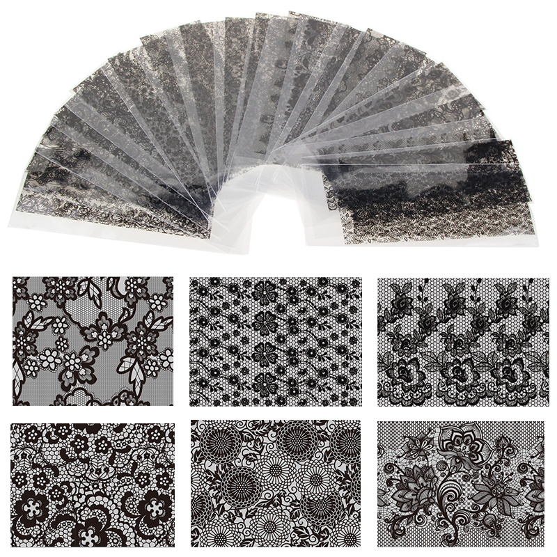20 Sheet 20cm*4cm Black Lace Flower Transfer Foil Nail Art Sexy Design Sticker Decal For Polish Care DIY Free Shipping WY188 20cm black and white lace nail sticker transfer sticker nail art foil stickers flower nail art tool