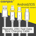 GARAS TPE Mobile Phone Magnetic Cable For Iphone 5 5s 6 6s Fast Charging Cable Lightning For Iphone 7 plus/Android TPE Wire 2IN1