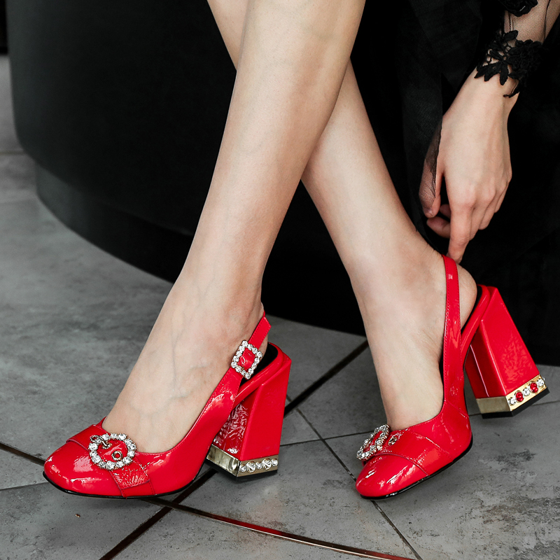 Women Cow Leather Sandals High Heels Closed toe Buckle Strap Elegant Women Pumps Pearl Design Red Ladies Wedding Party ShoesWomen Cow Leather Sandals High Heels Closed toe Buckle Strap Elegant Women Pumps Pearl Design Red Ladies Wedding Party Shoes
