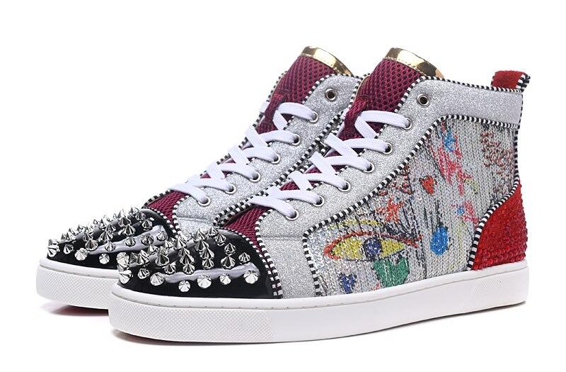 מעורב צבעים גרפיטי גליטר גברים אופנה מקרית סגנון נעלי כסף מסמרות הבוהן אדון ייחודי גבוהה חולצות תחרה עד לגפר נעל