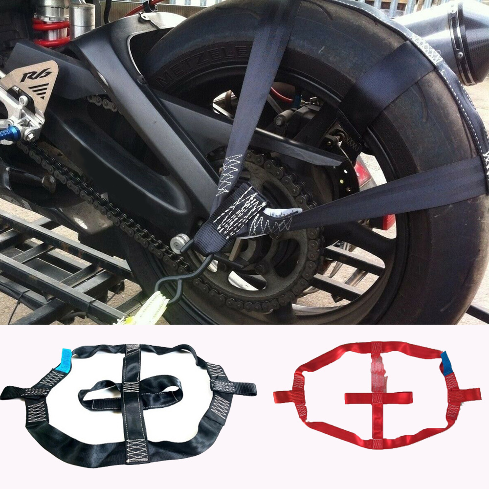 New Universal Black/Red Motorcycle Rear Wheel Fixing Fastening Webbing Belt Strap Motorbike Transportation Tie-Down Polyester