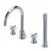 Free Shipping bathroom Products Solid Finishing Hot And Cold 4 Holes 2 Handles Pcs Bathtub Faucet Taps Mixer BF995